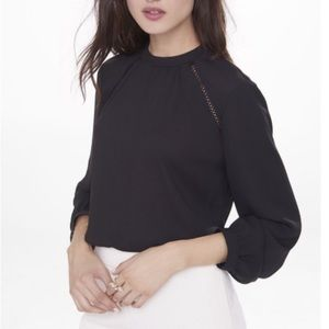 Express Black button up back blouse